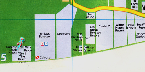 Robinson House beach resort vicinity map in Boracay island